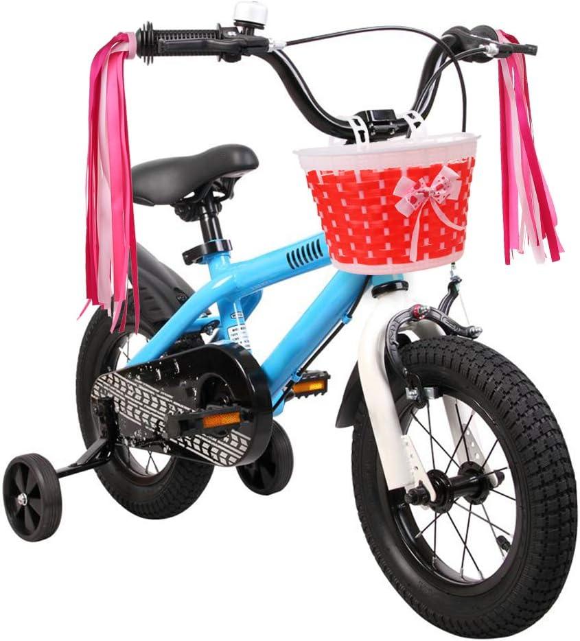 Kids Basket with Streamers Childrens Bike Accessory Gift Set for Bicycle Front Handlebar MINI-FACTORY Girls Bike Basket Streamer Set
