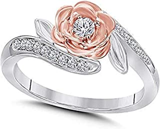 DreamJewels Belles 14K Rose and White Gold Plated Alloy White CZ Lab Created Diamond Fashion Ring 1/4ctw (6.25)