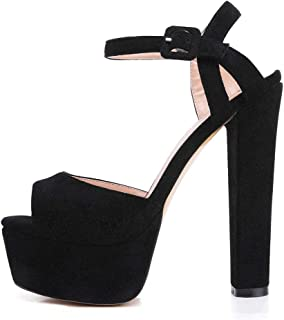 Women's Platform Chunky High Heels Faux Suede Ankle Strap Peep Toe Sandal Pumps Dress Party Shoes