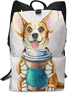 Backpack Corgi Dog With Coffee Paw Funny Pets Fantastic Shoulders Bag Classic Lightweight Daypack for Adults