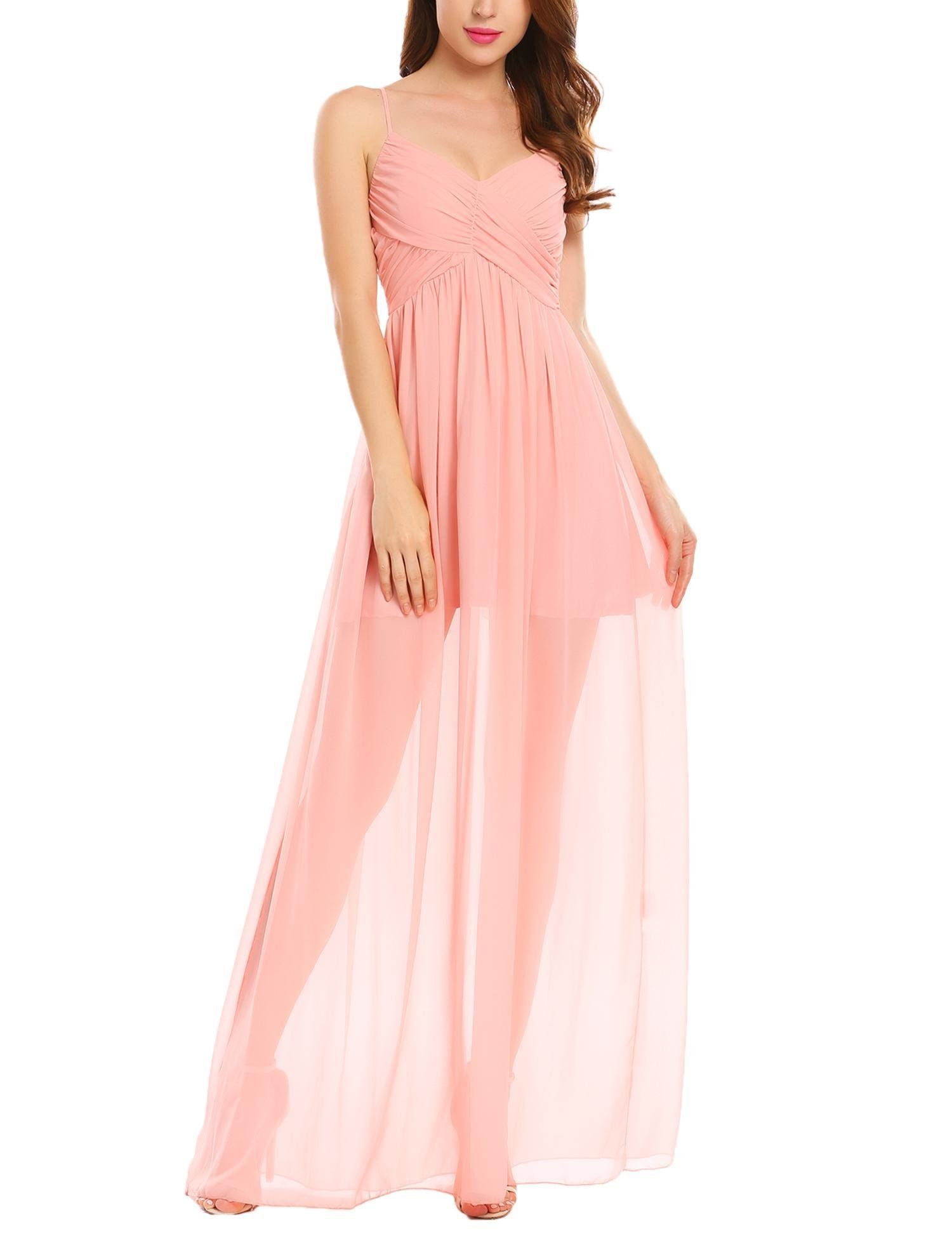 Available at Amazon: Tobecy Women's Sexy Chiffon Dresses V-Neck Spaghetti Strap Backless High Waist Maxi Long Evening Dress
