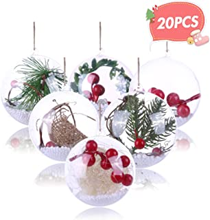 Koogel 20 Pcs 3Inch Clear Ornaments Balls, DIY Ornament Ball Christmas Transparent Ball Baubles Craft Transparent Ball Gifts for Wedding Party Decor