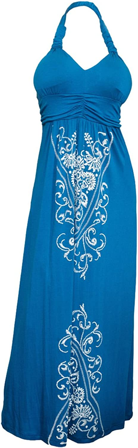 EVogues Plus Size Maxi Cocktail Cruise Halter Dress with Embroidery Print Detail