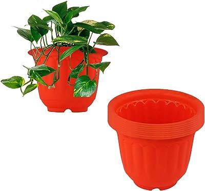 Meded Garden Essential Plastic Jasmine Planter/Pots Set (Diameter 12-inch, Pack of 8) (Orange)