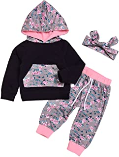 Fairy Baby Baby Girls Floral Hoodie Shirt+Leggings Pant Headband 3 Pieces Outfits Clothing Set