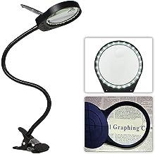 Tomshine Lupa con Luz, Lupa Iluminadora LED con Clip de la Abrazadera (3 x/10 x), Carga del USB, Brillo Ajustable Perfecto para Lectura, Impresión, Tallando