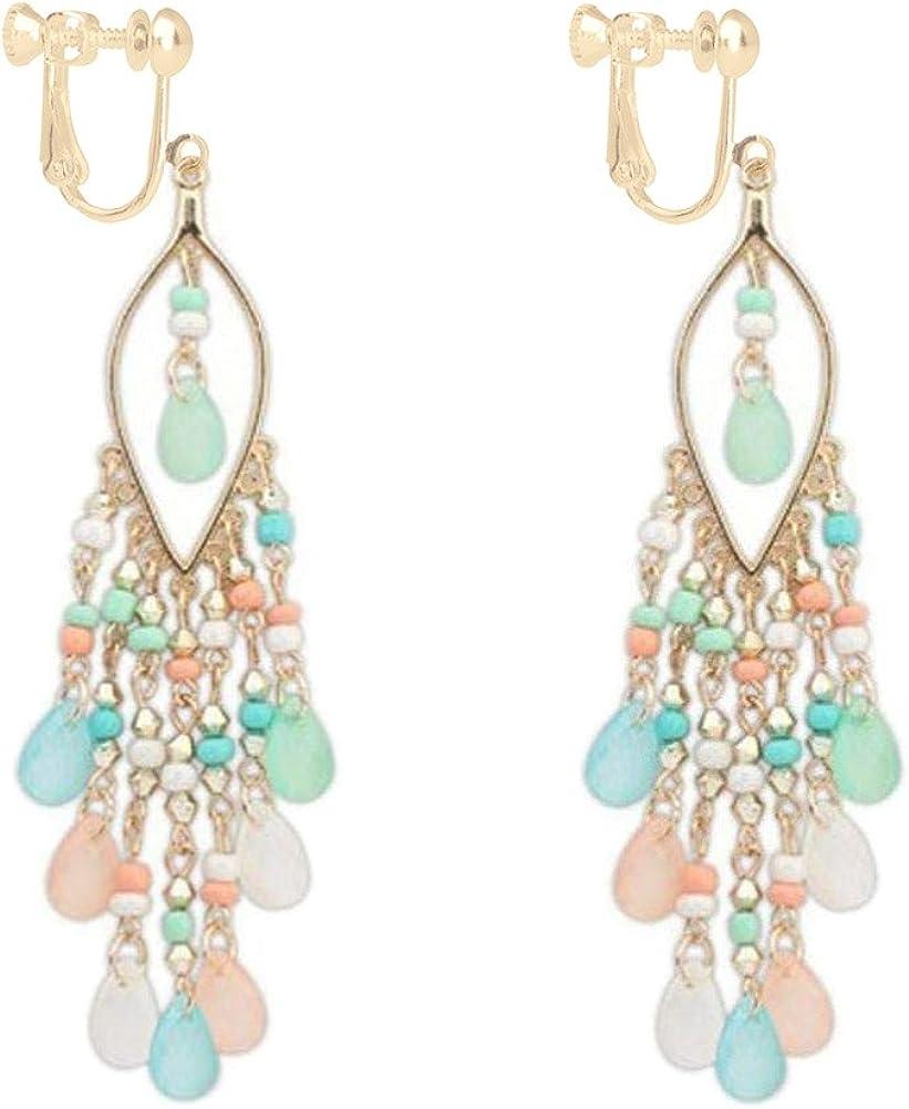 Long Boho Beaded Teadrop Tassels Clip on Dangle Earrings Back Screw Jewelry for Women Girls Multicolor