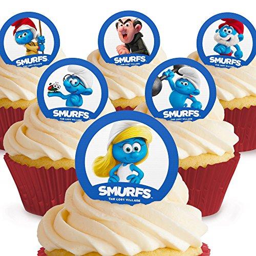 Toppershack 12 x decoración para pasteles comestibles PRECORTADAS de Los Pitufos (Smurfs)