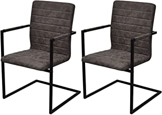Luckyfu Este 2Unidades sillas de Comedor Cantilever Marrones.La Silla de diseño Elegante y Unico. sillas Cocina Set Silla sillas Modernas sillas de Comedor sillas de Comedor