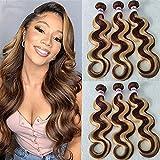 Bestsojoy Ombre Highlight Brazilian Virgin Hair Body Wave 3 Bundles 12A Remy Human Hair Weaves P4/27 Ombre Brown Blonde Brazilian Body Wave Hair Extensions (12 14 16, Highlight Hair Bundles)
