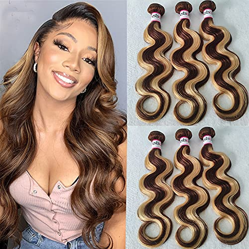 Bestsojoy Brazilian Body Wave Human Hair Weave 3 Bundles P4/27 Highlight Body Wave Bundles 12A Brazilian Remy Hair Ombre Blonde Human Hair Wavy Weaves Piano Color (10 12 14, Highlight Hair Bundles)