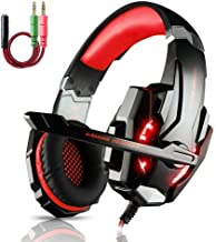 ECOOPRO Stereo Gaming Headset with Microphone 3.5mm Over Ear Headphones LED Lights & in-line Volume Control for PS4, PC, MAC, Mobiles (Red)