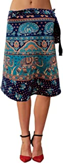 Women's Cotton Printed Knee Length Regular Wrap Around Skirt (NTBW24_0086; Blue; Free Size)