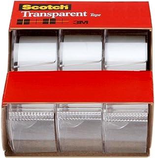 Scotch 3157S Transparent Tape, 19mm X 7.62m, Pack of 3