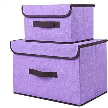 Voker Caja de Almacenaje de Tela, Plegable Set de 2 Cajas de Almacenaje Cubos de Tela Organizador Plegable con Tapa y Ventana de Etiqueta Almacenaje Juguetes, Caja para Ropa (Morado): Amazon.es: Hogar