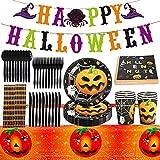 Halloween Party Zubehör Halloween Deko Set, Partygeschirr Set mit Papptelle, Pappbecher, Banner, Servietten, Halloween Party Dekoration fur Kinder, Grusel Party, Garten