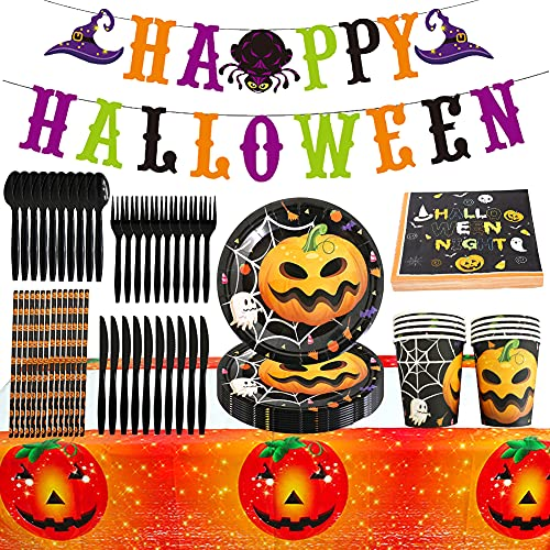Halloween Party Tableware, BESTZY 97 PCS Halloween Party Supplies Decorations Set Banner Paper Plates, Paper Cups, Napkins, Straws and Tablecloth for Halloween Party Decorations
