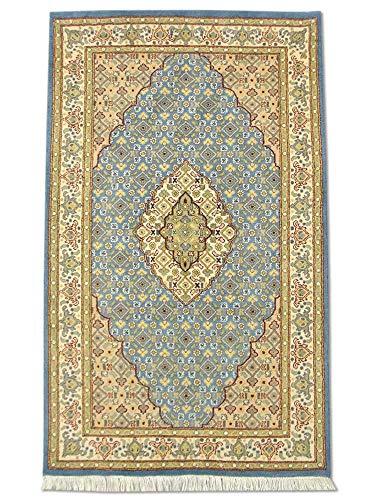 Pak Persian Rugs handgeknoopt Tabriz tapijt, Air Force blauw, wol, small, 96 x 161 cm
