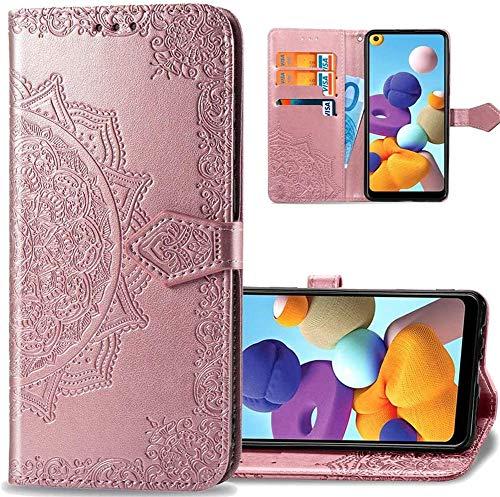 IMEIKONST Billetera Caso para Samsung J330, Mandala En Relieve Carcasa de Telefono Cuero PU Card Slot Holder Magnética Flip Estar Funda Caso para Samsung Galaxy J3 Pro 2017 Mandala Rose Gold SD