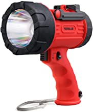 YIERBLUE Rechargeable Spotlight with 2000 Lumen LED, IP67 Waterproof Handheld Flashlight Searchlight with Detachable Red L...