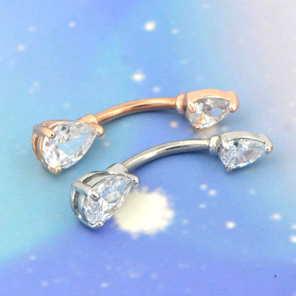 OUFER 14G 316L Surgical Steel Double Teardrop CZ Navel Rings Belly Button Rings Jewelry