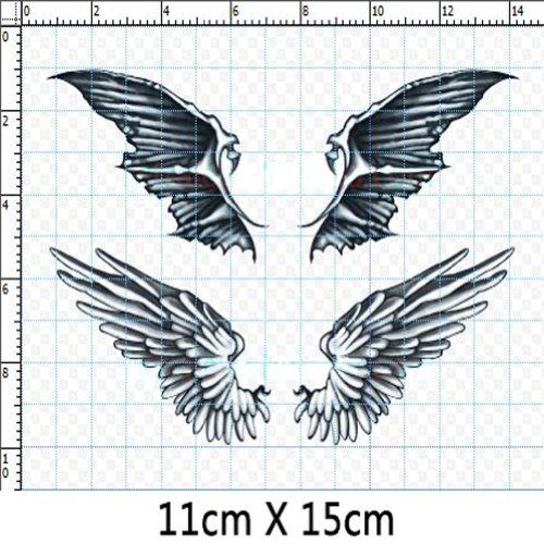 Set of 3 Fashion Angel&Demon Wings Body Tattoo Stickers Fake Temporary Tattoos