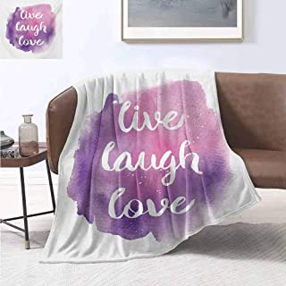 jecycleus Live Laugh Love Luxury Special Grade Blanket Wise and Happy Life Message on Watercolor Paintbrush Effects Print Multi-Purpose use for Sofas etc. W54 by L72 Inch Purple Pink White