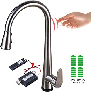 Touch On Kitchen Faucet SUS304 Stainless Steel Single-Handle One Hole Lead-Free Pull Down Pull Out Sprayer High Arc Dual Function Spray head
