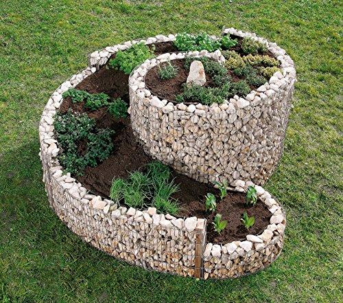 Gartenwelt Riegelsberger Große Kräuterspirale Gabione Gabionen Gartendekoration Kräuterschnecke 200 x 150 cm