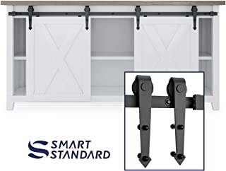 SMARTSTANDARD 6FT Mini Sliding Barn Door Hardware Track Kit -Super Smoothly and Quietly -for Double Opening Cabinet, TV Stand, Closet, Window -Fit 18