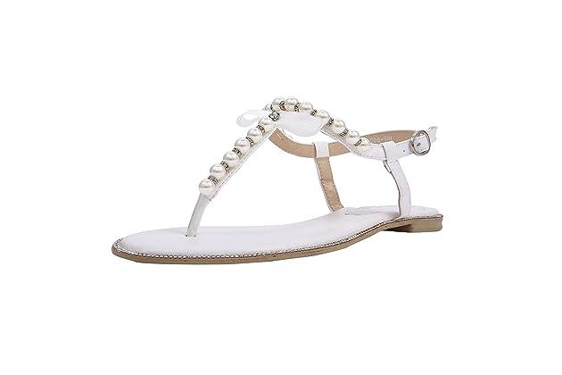 69f4c7233 SheSole Women s Pearl T-Strap Bridal White Flat Sandals Beach Wedding Shoes