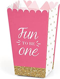 1st Birthday Girl - Fun to be One - First Birthday Party Favor Popcorn Treat Boxes - Set of 12