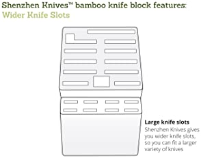 Bamboo Wood Knife Block without Knives, Countertop Butcher Block Knife Holder and Organizer with Wide Slots for Easy ...