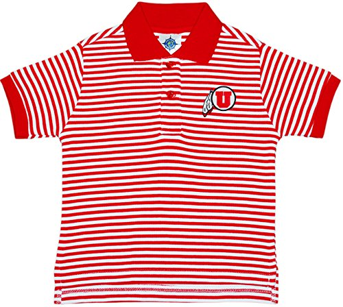 University of Utah Utes Striped Polo Shirt by Creative Knitwear, Red/White, 4T