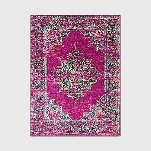 Alfombra retro de estilo étnico persa geométrica rosa púrpura estilo étnico cocina sala de estar dormitorio mesita de noche alfombra del piso de área grande 1_40x60cm
