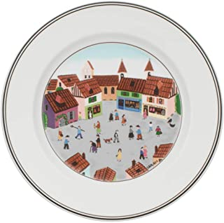 Villeroy & Boch 10-2337-2645 Design Naif Salad Plate #4-Old Village Square, 8.25 in, White/Colorful