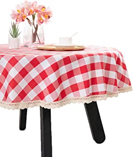 Nobildonna 55Inch Gingham Checkered Tablecloth, Red & White Checker, Round Lace Polyester Tablecloth