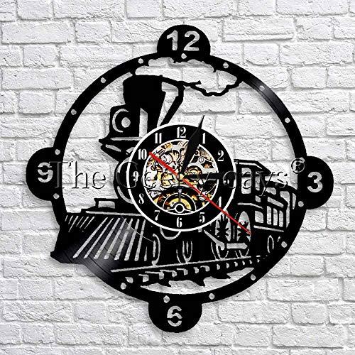 wtnhz LED-Locomotora de Vapor Tren Reloj de Pared Motor de Vapor Vintage Disco de Vinilo Reloj de Pared Tren Locomotora decoración de Pared diseño Moderno
