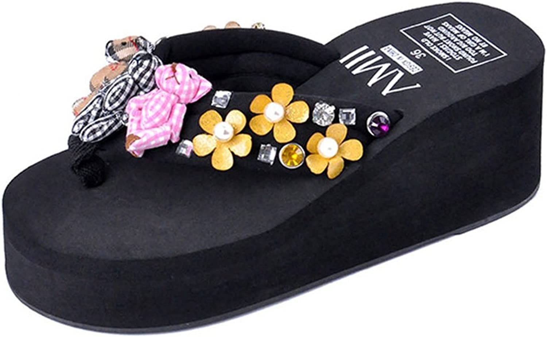 U-MAC Womens Flip Flops Sandals High Heeled Doll Comfort Wedge Thick Sole Thong Beach Slippers