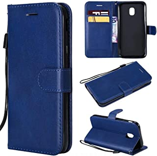 MUJUN 2019 Fashion Premium Retro Business Solid Color Full Coverage PU Leather Shockproof Magnetic Flip Case for Samsung Galaxy J3 Pro 2017 SM-J330, with Holder Card Slots Wallet Wrist Strap