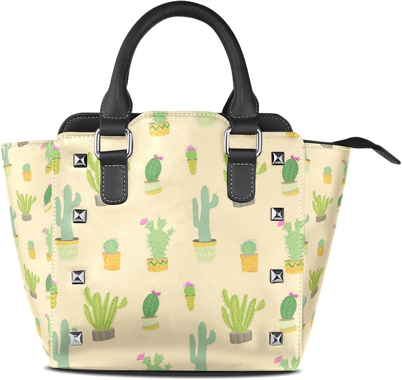 Sunlome Cute Cactus Print Women's Leather Tote Shoulder Bags Handbags