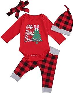 Eghunooye Weihnachten Baby Mädchen Bekleidung Set My First Christmas Print Langarm Strampler Top Rot Plaid Hosen mit Mütze Stirnband Winter Kleinkind Baby Mädchen Outfits