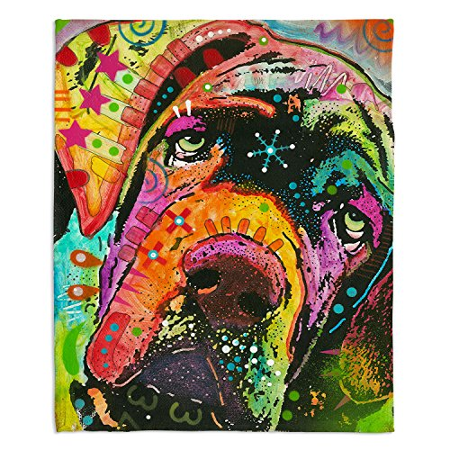 Dia Noche Fleece Blankets Soft Fuzzy 4 Sizes! by Dean Russo Ol Droopy Face Mastiff Dog - Toddler 40' x 30'
