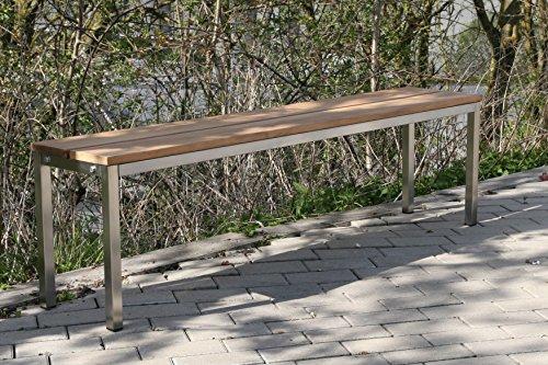Szagato Sitzbank/Gartenbank BxTxH: 100x30x40cm, Edelstahl (Sitzbank für Wohnraum/Außen-Bereich, Bank mit Echt-Holz für Draußen, Design-Gartenmöbel, 2-Sitzer Holzbank) (Marke Made in Germany