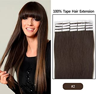 16 Inches Dark Brown 20pcs Straight Tape in Human Hair Extensions (Color-2)