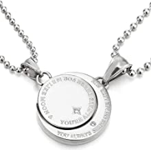 COOLSTEELANDBEYOND A Pair Couples Lovers Steel Moon and Sun Pendant Necklace with Cubic Zirconia for Man Woman Friends