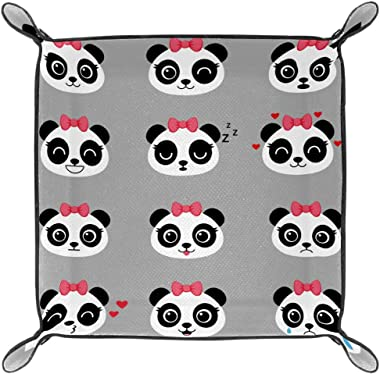 WOSHISHUI Grey Female Panda Valet Tray for Womens Storage Organizer Multi-Use PU Leather Bedside Caddy Dice Holder for Keys,
