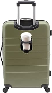 Wrangler Smart Luggage Set with Cup Holder and USB Port, Olive Green, 20-Inch Carry-On