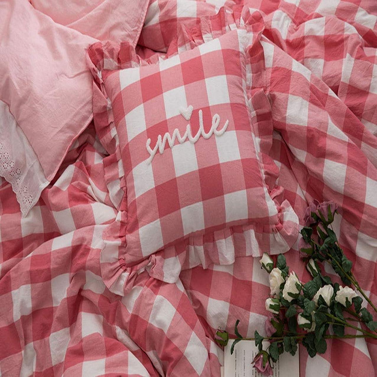 プロポーショナル伝記ふけるMayalina インフリルウォッシュドコットンウール刺繍入りスクエアピロー刺繍入りクッション取り外し可能 (色 : Pink grid, Size : 45*45cm)