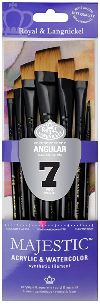 Majestic Royal Langnickel Short Handle Paint Brush Set, Angular, 7-Piece